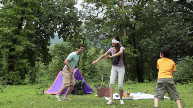 family playing in a forest, malshej ghat, maharashtra, india - indian subcontinent ethnicity stock videos & royalty-free footage
