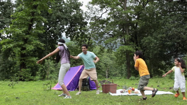 family playing in a forest, malshej ghat, maharashtra, india - ピクニック点の映像素材/bロール