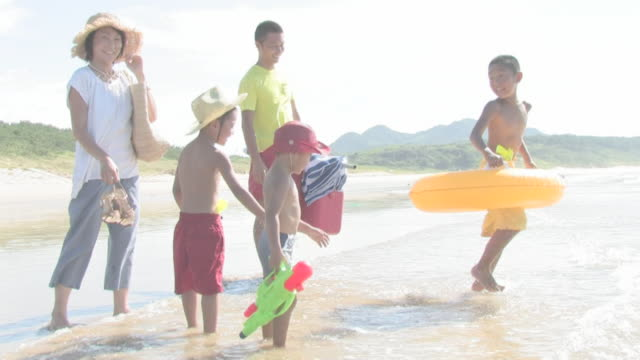 family playing on shore - swimwear stock videos & royalty-free footage