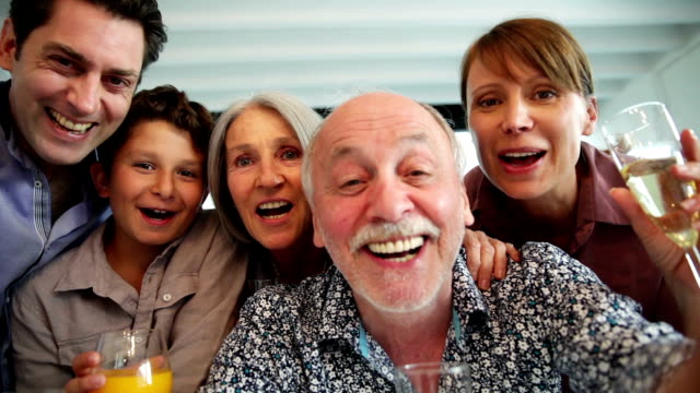 family portrait after lunch - all together celebrations - video conference stock videos & royalty-free footage