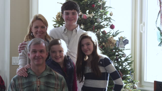 ms family portrait in front of christmas tree / rutland,vermont, usa - in front of stock videos & royalty-free footage