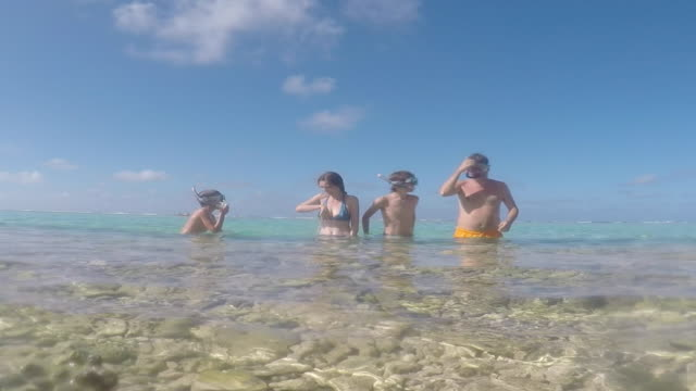 family portrait with masks and snorkel in the sea - huahine island stock videos and b-roll footage
