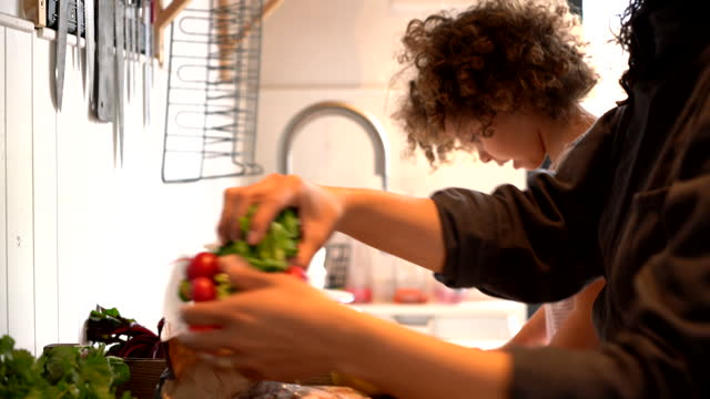 family preparing meal in kitchen - daughter stock videos & royalty-free footage