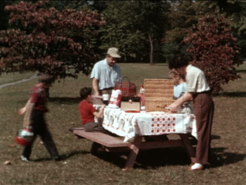 vidéos et rushes de 1964 family preparing picnic at picnic table in park / industrial - pique nique
