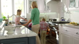 Family Preparing Roast Turkey Meal In Kitchen Shot On R3D