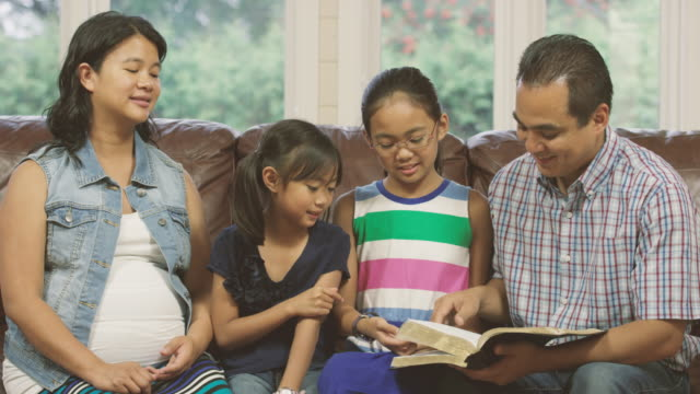 Family reading the Bible together