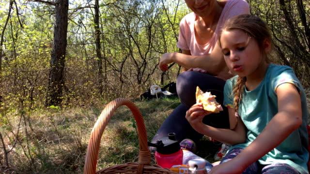 vidéos et rushes de détente familiale en forêt et avoir un pique-nique - picnic