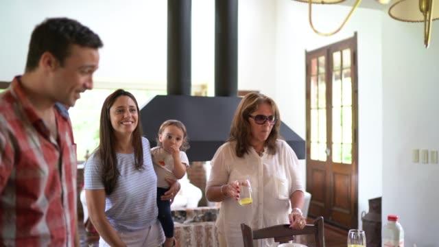 vídeos de stock e filmes b-roll de family reunited at home - visita