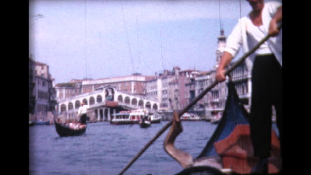 1964 family riding in venice gondolas - italy stock videos & royalty-free footage