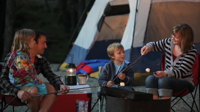 family roast marshmellows on campfire