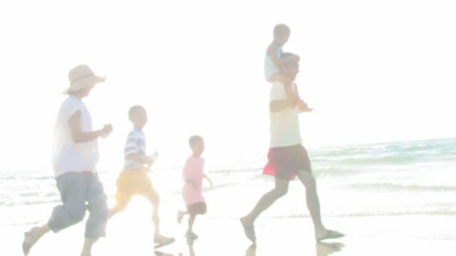 family running on shore - five people stock-videos und b-roll-filmmaterial