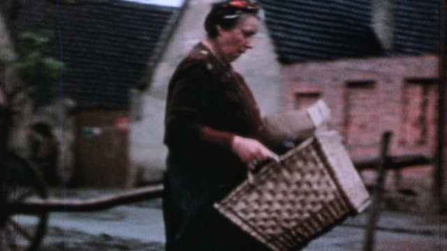 family salvaging belongings from war damaged home while others operate hand pump to fight the fire / germany - 1945 stock-videos und b-roll-filmmaterial