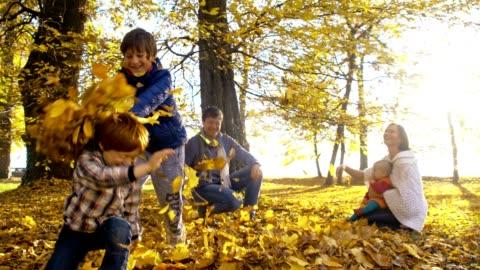 slo, mo, verstreuten familien blätter über jede andere - autumn stock-videos und b-roll-filmmaterial
