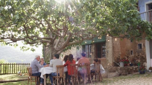 vídeos y material grabado en eventos de stock de familia sentado en mesa de árbol en la yarda - comida del mediodía