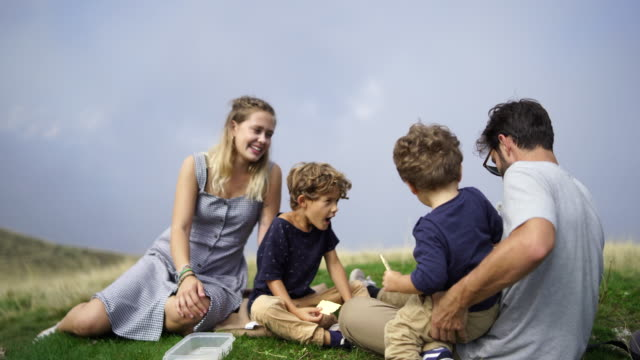 family sitting on mountain top having picnic. two young boys, mother and father - dress stock videos & royalty-free footage