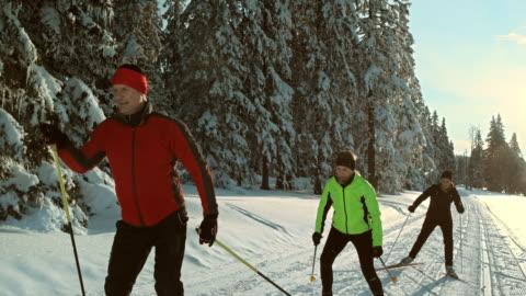 vídeos y material grabado en eventos de stock de ts de san luis obispo missouri familia patinaje sobre hielo en la pista de esquí nórdico - actividad al aire libre