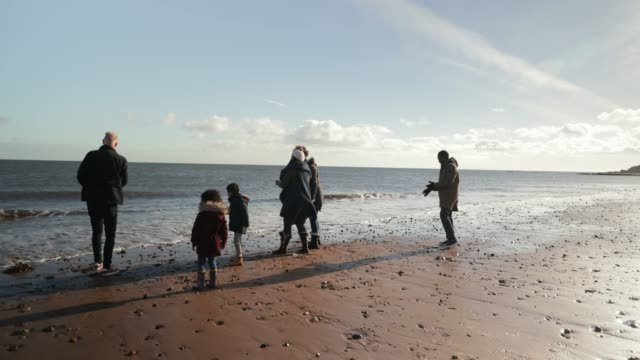 stockvideo's en b-roll-footage met familie skimming stenen in de zee - whitley bay