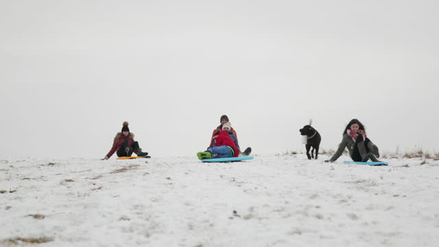 familie sledding together - 12 17 monate stock-videos und b-roll-filmmaterial