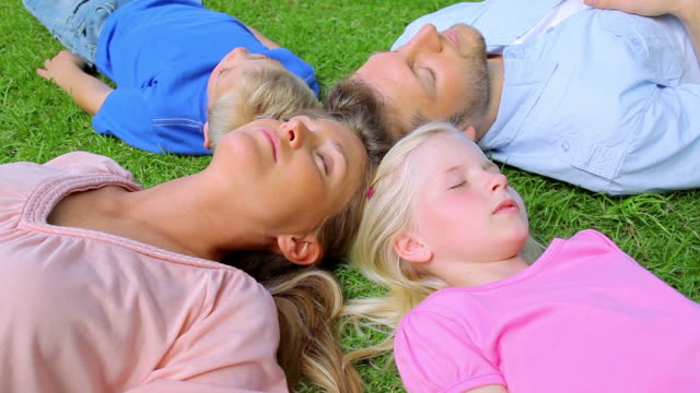 a family lies head to head in grass while sleeping before the daughter begins to move - 子供2人の家庭点の映像素材/bロール