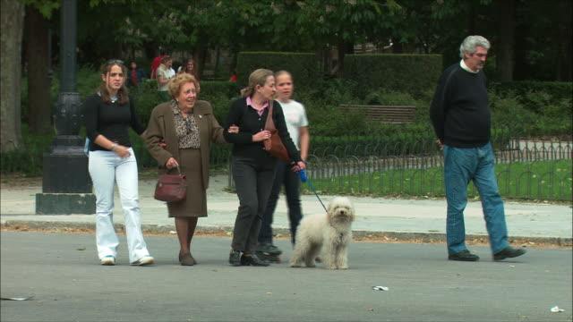 vídeos y material grabado en eventos de stock de ws family strolling in retiro park, madrid, spain - pension