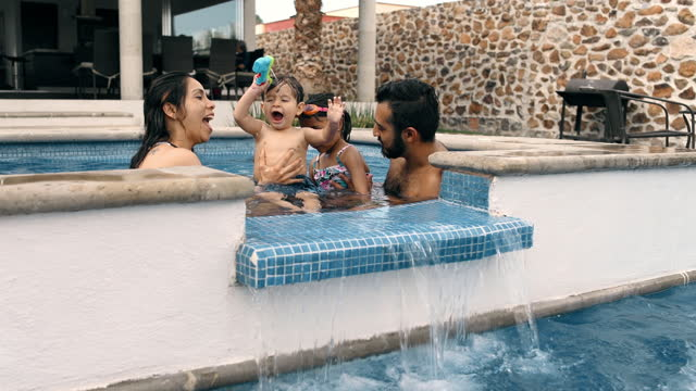 family summer vacation - holiday villa stock videos & royalty-free footage