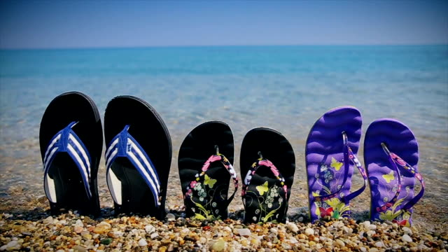 family summer vacation,b roll - flip flop stock videos and b-roll footage