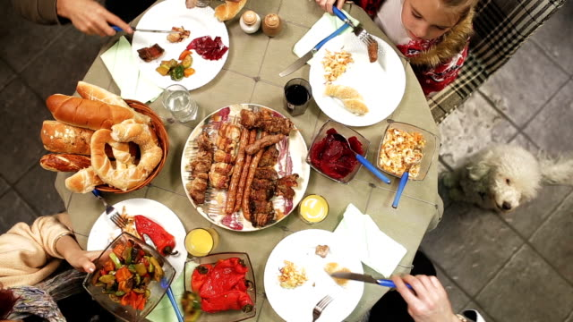 family table with holiday foods - brunch stock videos & royalty-free footage