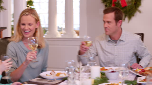 Family toast happily and clink glasses over their Christmas dinner