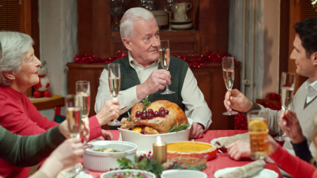 Family toasting at a Christmas table
