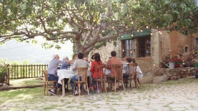 vidéos et rushes de famille boisson à table dans yard de grillage - famille multi générations