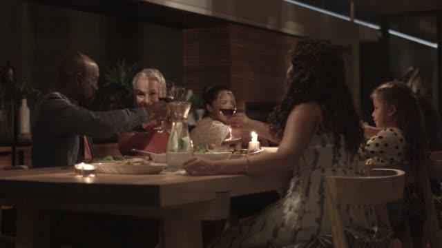 vídeos de stock, filmes e b-roll de family toasting wineglasses during reunion - vinho tinto