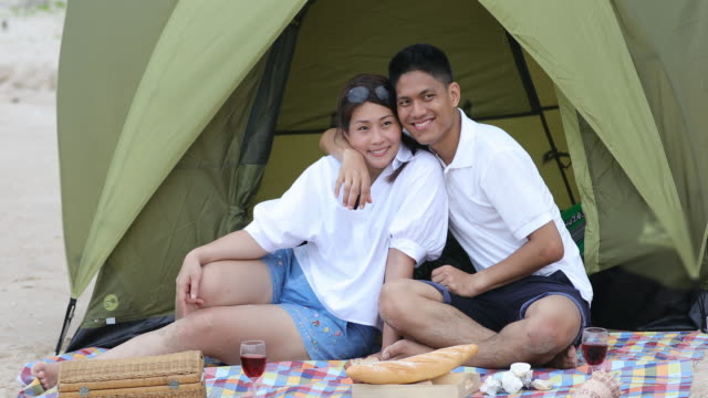 Family travel on vacation for relax and play happily at the beach and camping