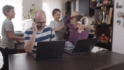 Family trying to work from home