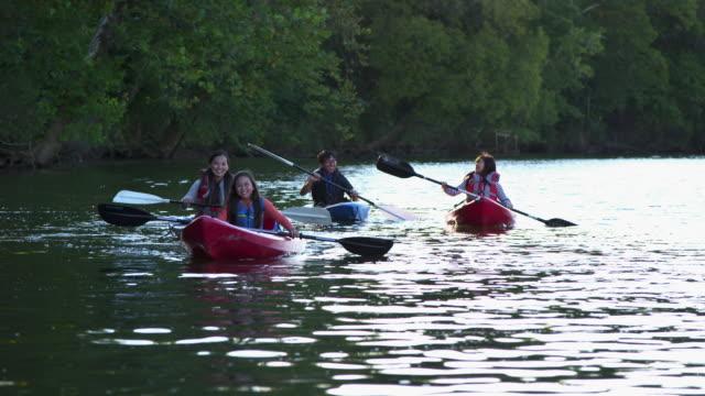 WS Family Using Kayaks on River / Richmond, Virginia, United States