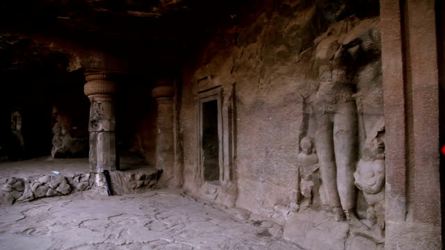 family visit at elephanta island cave, mumbai - cave stock videos & royalty-free footage
