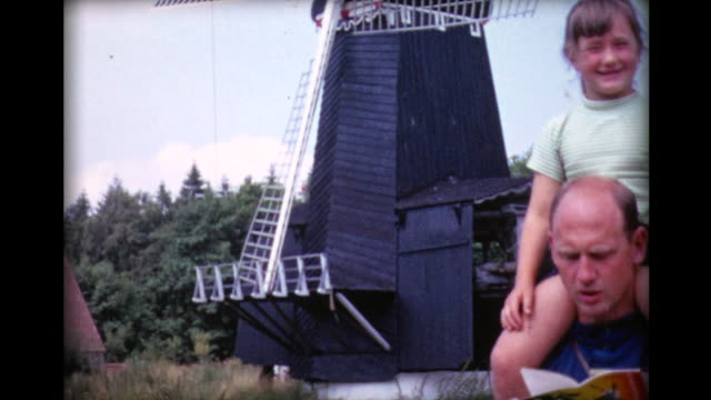 1967 family visiting windmills - netherlands stock videos & royalty-free footage
