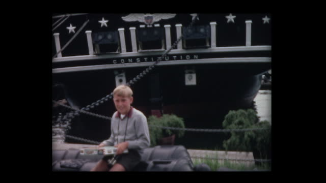 1966 family visits uss constitution - uss constitution stock videos and b-roll footage
