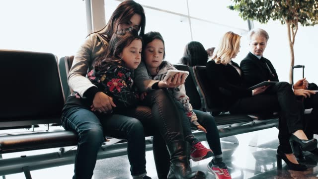 Family waiting at the aiport