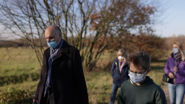 Family walking during COVID-19 pandemic