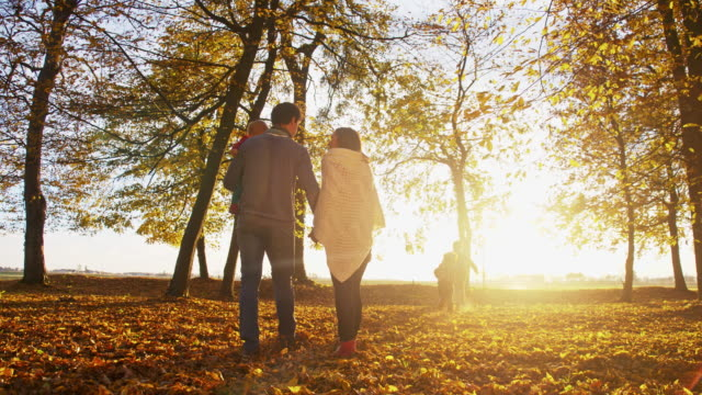 family walking in autumn park - family with three children stock videos & royalty-free footage