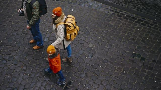 family walking in old town in monschau - north rhine westphalia stock videos & royalty-free footage