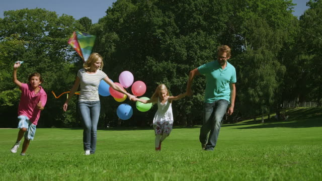 family walking in park - kite toy stock videos and b-roll footage