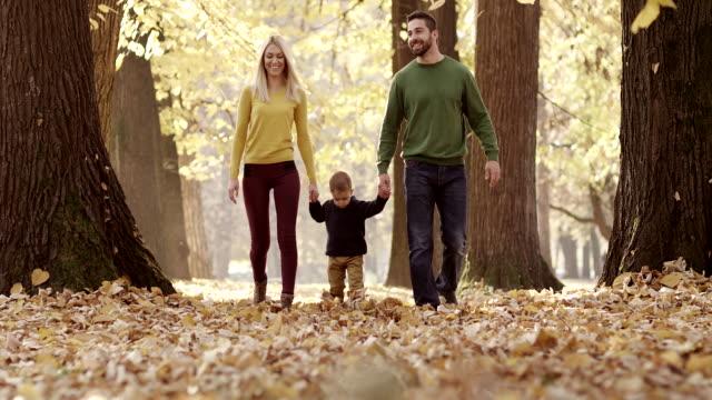 vidéos et rushes de famille marche dans le parc automnal - automne