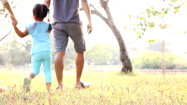 HD : Family walking in the park.
