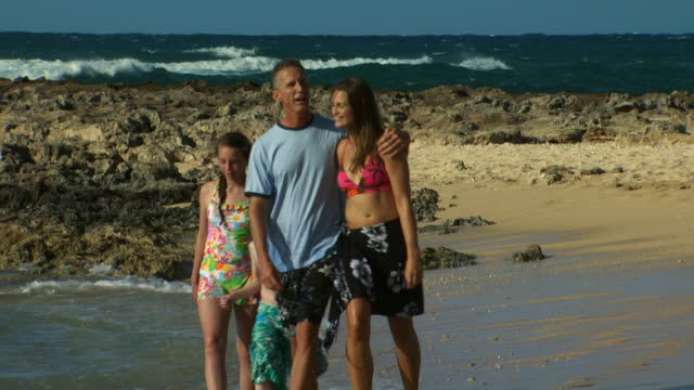 family walking on beach holding hands - turtle bay hawaii stock videos and b-roll footage