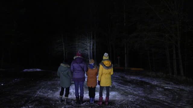 vídeos de stock, filmes e b-roll de família andando ao ar livre com lanternas - lanterna elétrica
