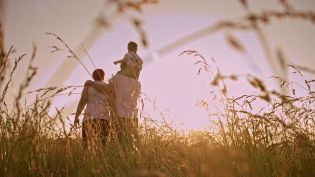 vídeos de stock e filmes b-roll de família caminhar na relva ao pôr do sol - três pessoas