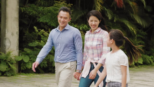 family walking together in a public park in the city - taipei stock videos & royalty-free footage