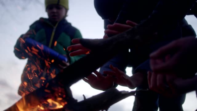 family warming hands in the bonfire. winter fun. riverside in the city - teenage boys stock videos & royalty-free footage