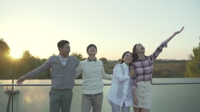 vídeos de stock, filmes e b-roll de family waving their hands in the park - de braços dados